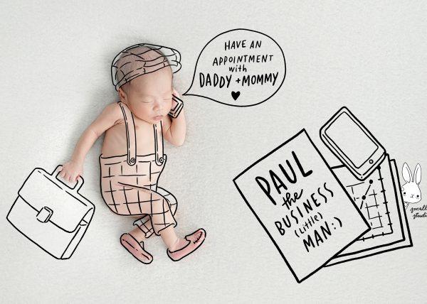 newborn business man drawing