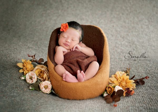 at home newborn Orange Grey theme